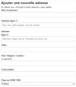 Exemple de formulaire dans Amazon : label au dessus des champs, indications dans les champs, liste déroulante quand possible