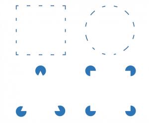 Loi de clôture : on distingue nettement un carré et un rond en haut, et assez facilement un triangle et un carré en bas.