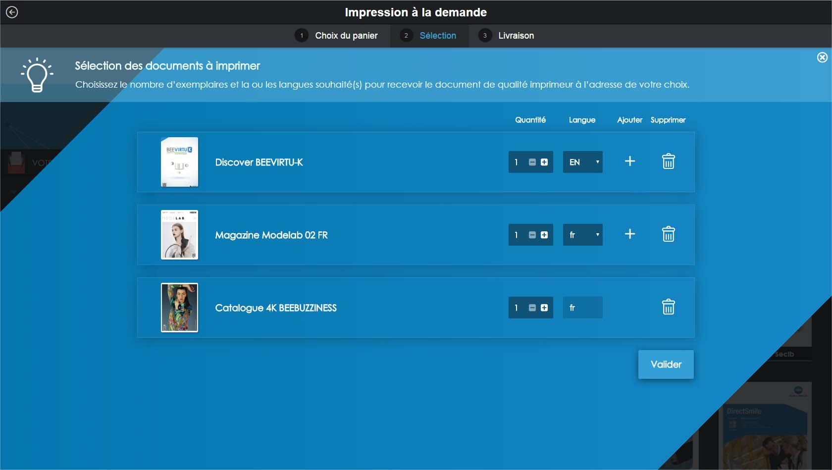 Bibliothèque virtuelle mars 2016 : panier de commande d'impression