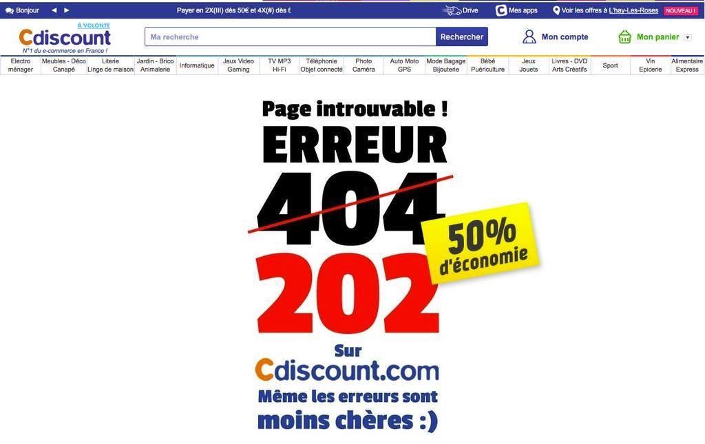 Page introuvable ! erreur 202 (50% d'économie) : sur c-iscount même les erreurs sont moins chères !