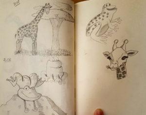 Dessins de girafes et grenouilles