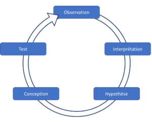 Cycle expérimental : Observation, Interprétation, Hypothèse, Conception, Test