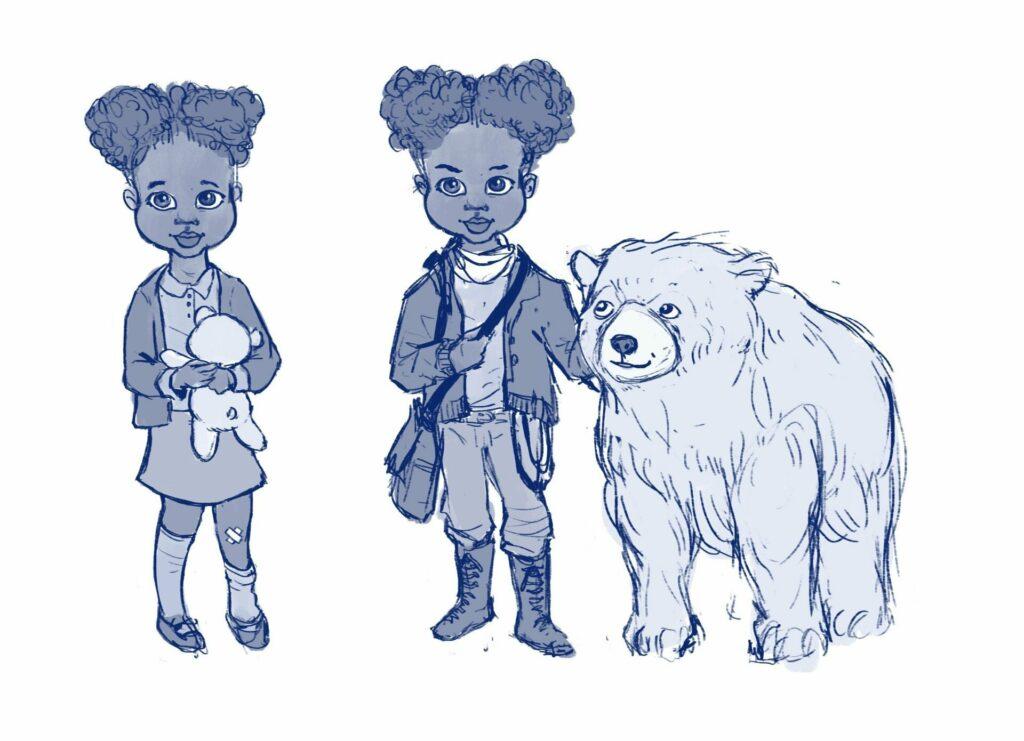 Illustration d'Efia avec un ours